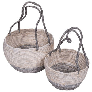 Marina Seagrass Baskets White Baskets - Dusty Sea
