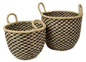 Natural & Black Seagrass Baskets Baskets - Dusty Sea