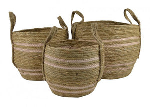 Natural & Pink Seagrass Baskets Baskets - Dusty Sea