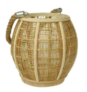Natural Wood & Jute Lantern Candle holder - Dusty Sea