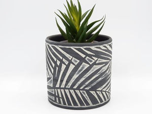 Palm Leaf Black Planter planters - Dusty Sea