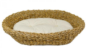 Seagrass Pet Bed With Cushion Baskets - Dusty Sea