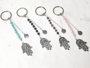Silver Hamsa Keyring Jewellery - Dusty Sea