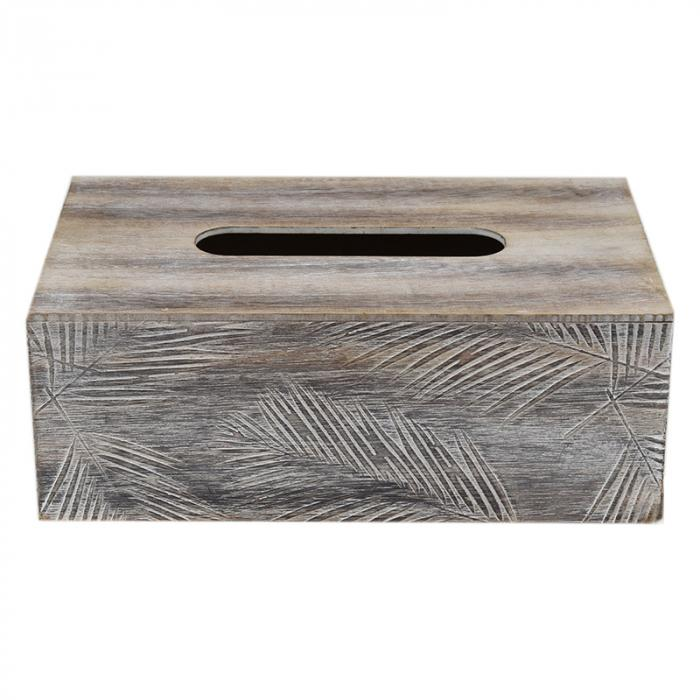 White & Natural Palm Tissue Box Wooden Decor - Dusty Sea