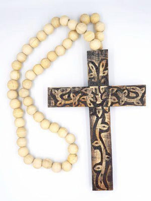 Wooden Cross Dark Stain Home Decor - Dusty Sea