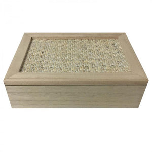 Wooden & Woven Tea Box Wooden Decor - Dusty Sea