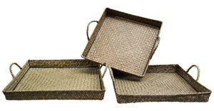 Woven Rattan Trays Home Decor - Dusty Sea
