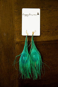 Feather Earrings in Blue