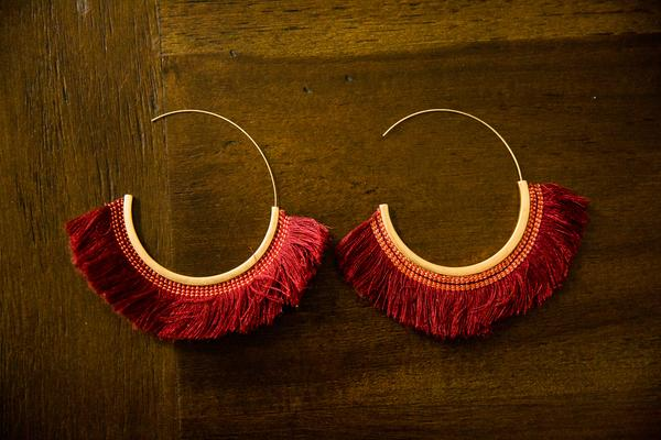Gold Fringe Hoop Earrings in Burgundy