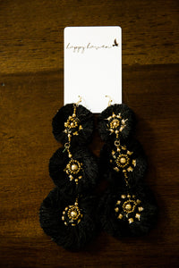 Stacked Circle Fringe Earrings in Black