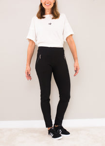 Black pull on Pants with Zippers