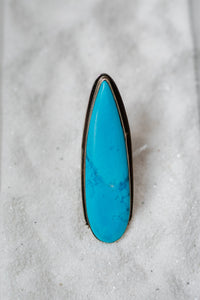 Extra Long Turquoise Pear Ring