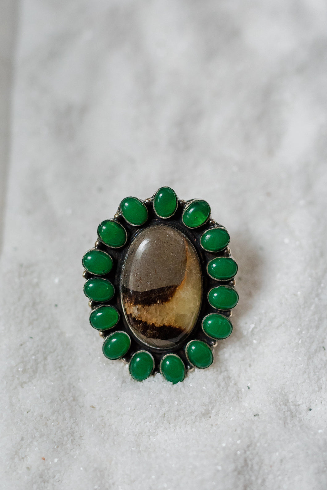 Dark Marble with Green Accent Stone Ring