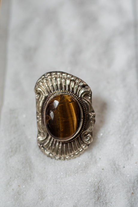 Tigers Eye Silver Accent Ring