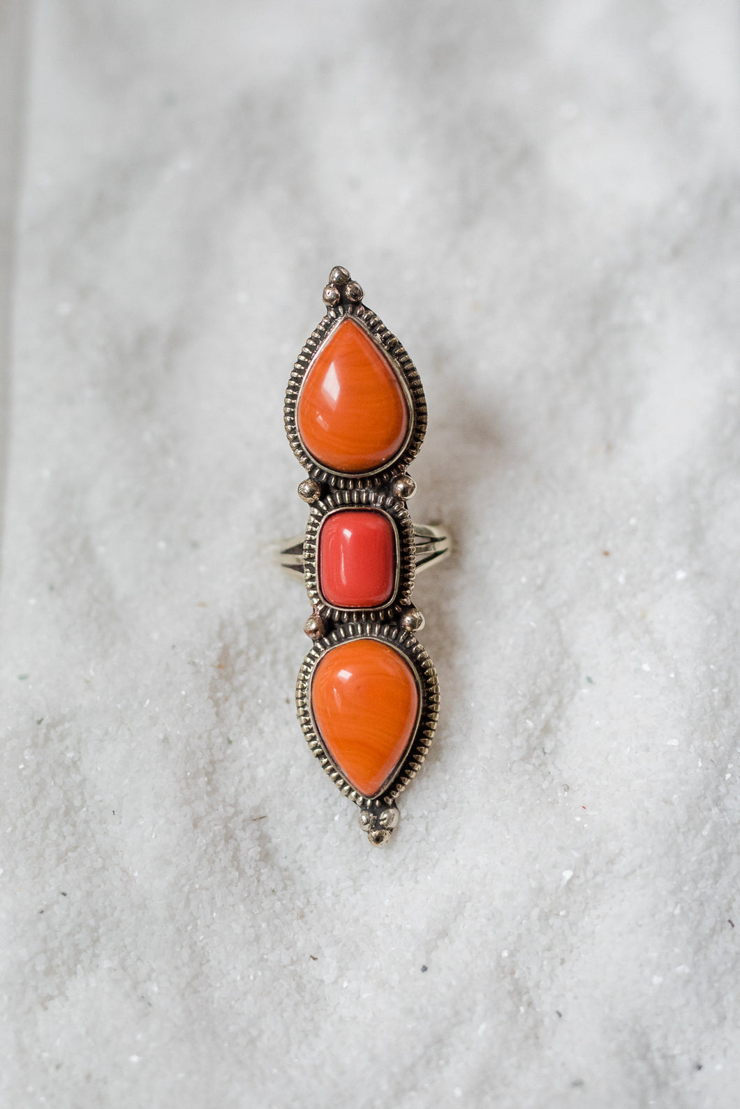 Orange Long Stone Ring
