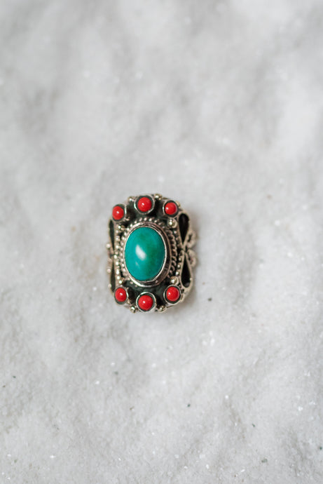 Turquoise with Red Accent Stone Ring