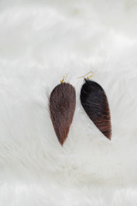 Leaf Shaped Cowhide Earrings
