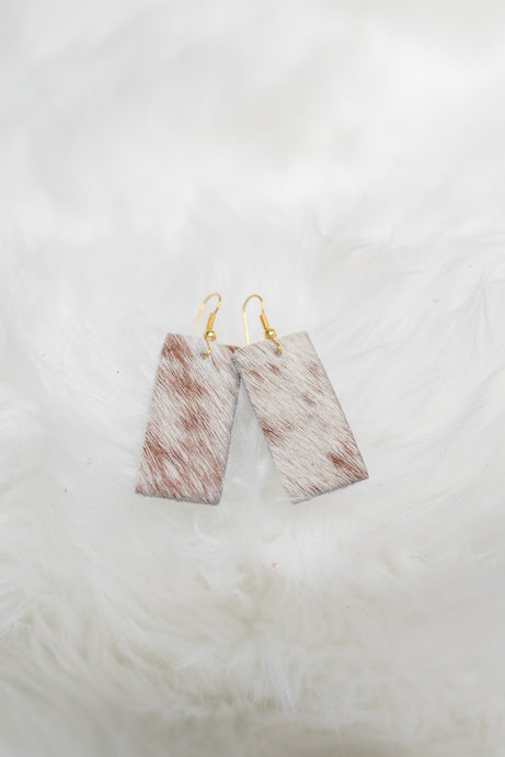 Rectangle Cowhide Earrings