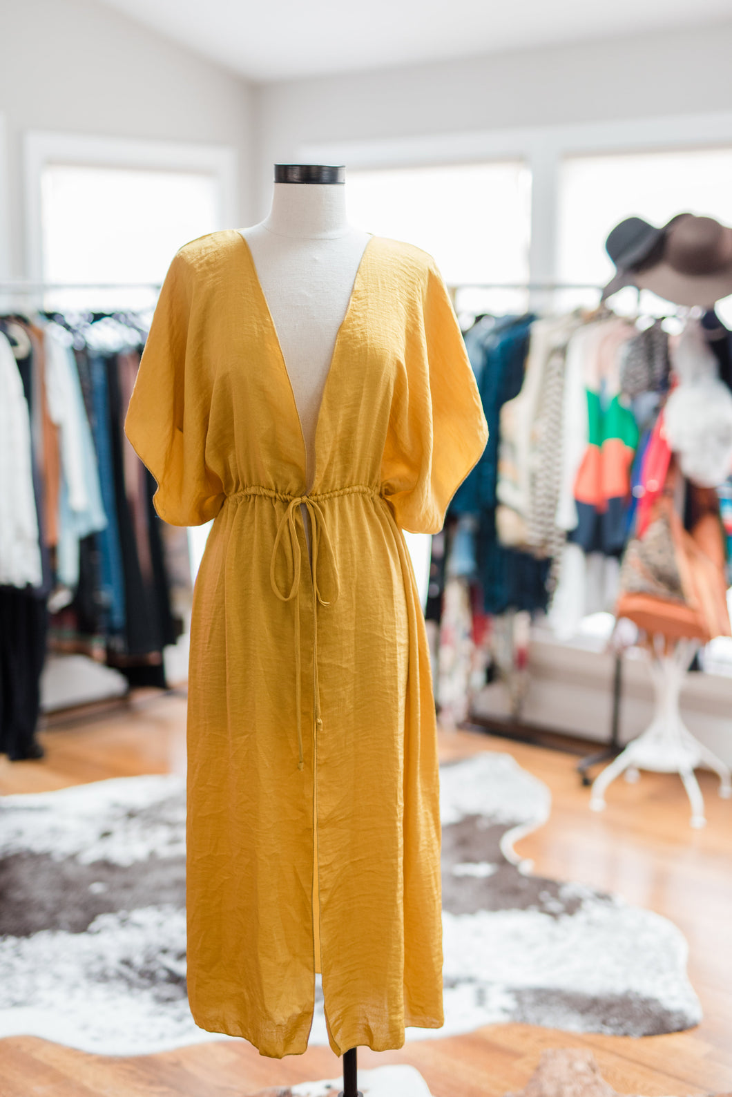 Yellow Silk Wrap Shirt