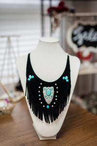 Black Leather and Turquise Bib Necklace