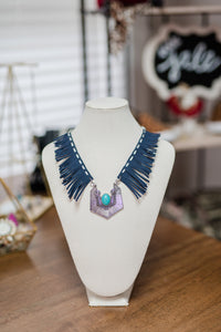 Metal and Leather Bib Necklace