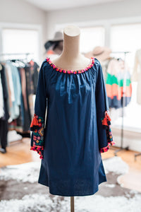 Navy Dress with Emboidered Sleeves
