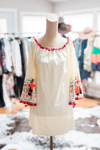 Cream Dress with Embroidered Sleeves
