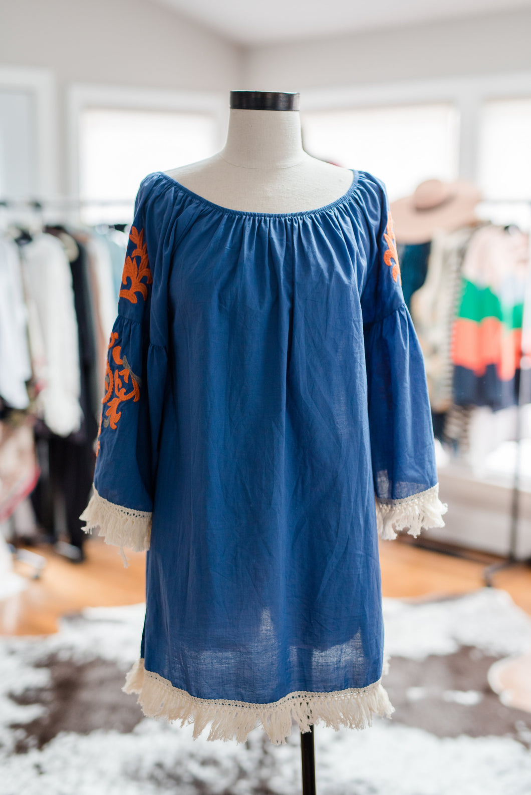 Blue Embroidered Sleeve Top