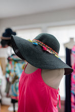 Load image into Gallery viewer, Black Fringe Floppy Hat
