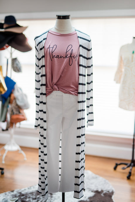Black-White Striped Cardigan