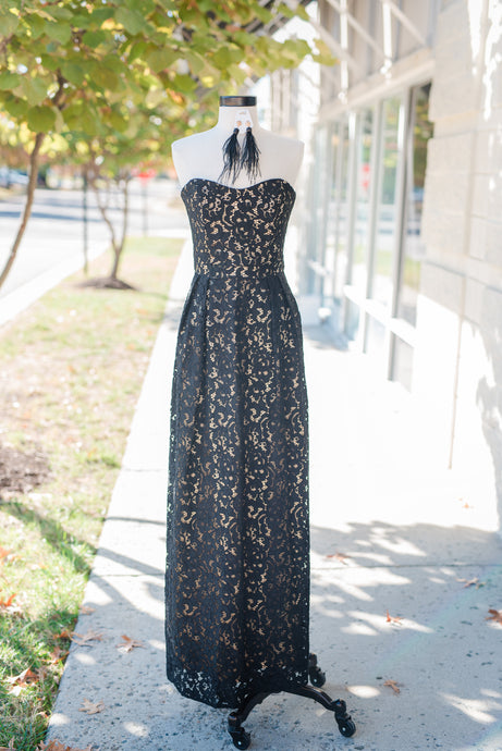 Strapless Black Lace Gown