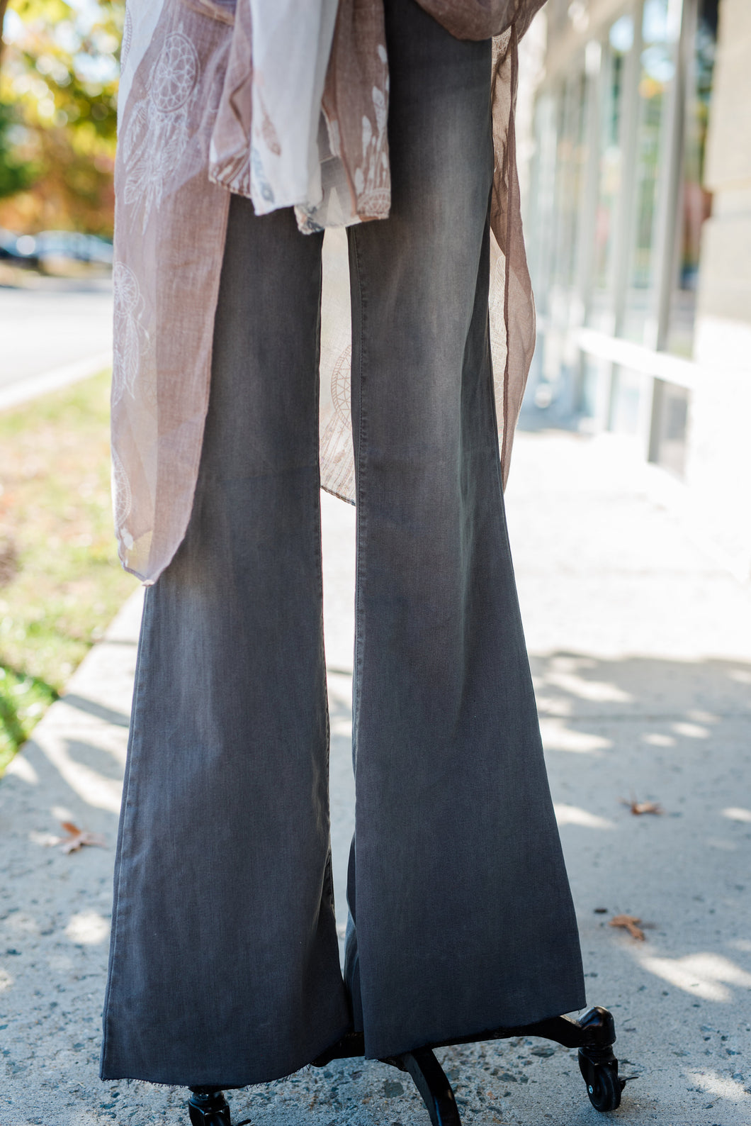 Gray High Rise Flare Jeans