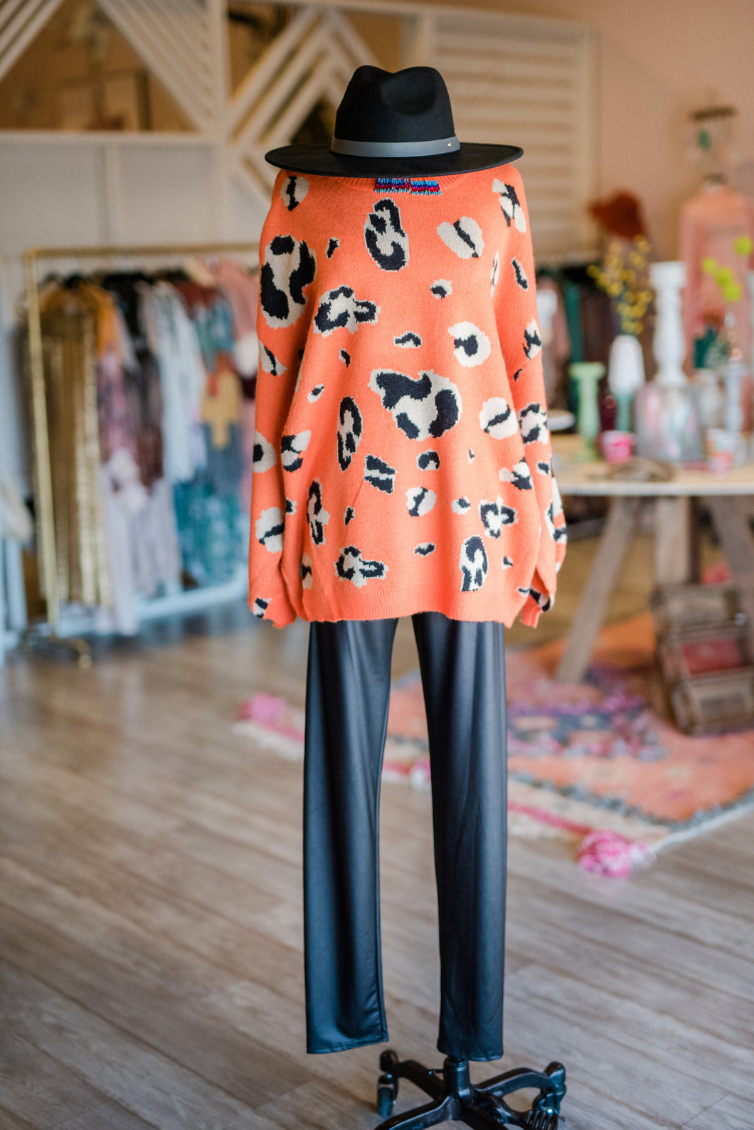 Orange Cheetah Sweater