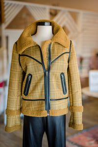 Yellow and Black plaid jacket with Leather trim