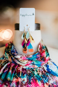 Colorful feather earrings