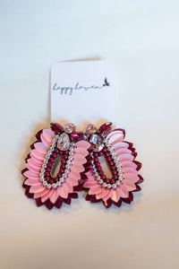 Pink and red jewel earrings