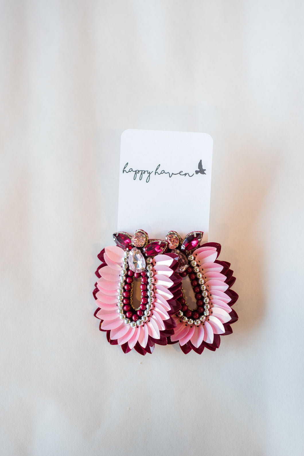 Light and dark pink jewel earrings