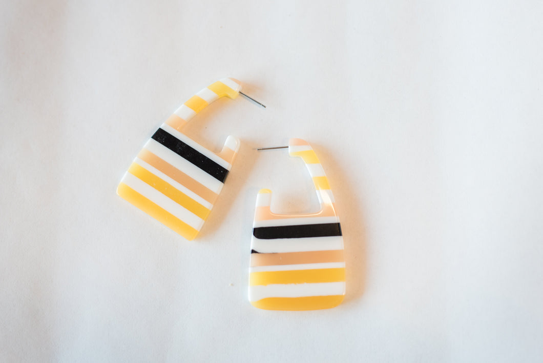 Yellow and white stripped earrings