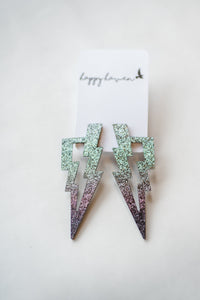 Silver Ombre Lightening Bolt Earrings