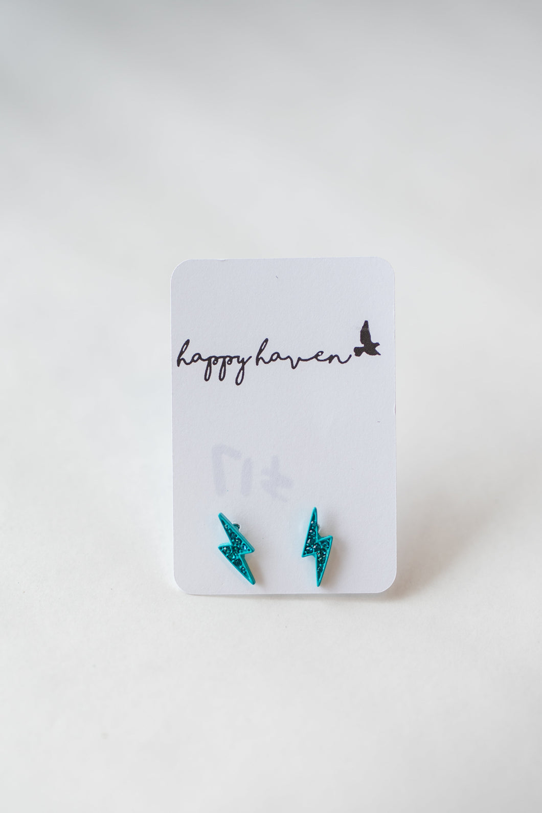 Small blue lightening bolt studs