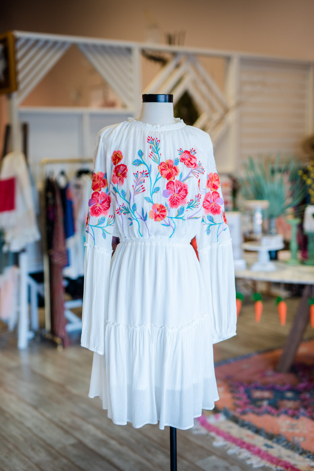 White and Colorful Floral Dress