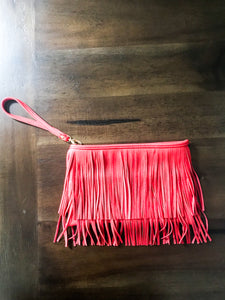 Red Fringe Clutch