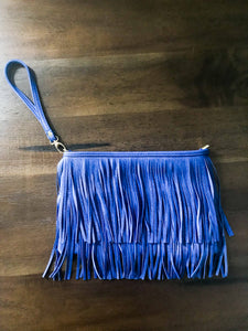 Blue Fringe Clutch