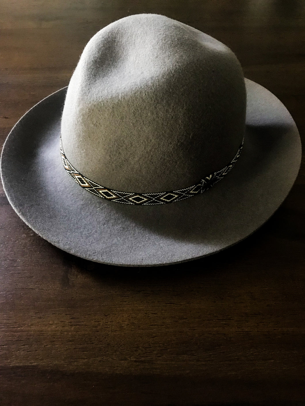 Gray Hat with Black and White Tribal Beading