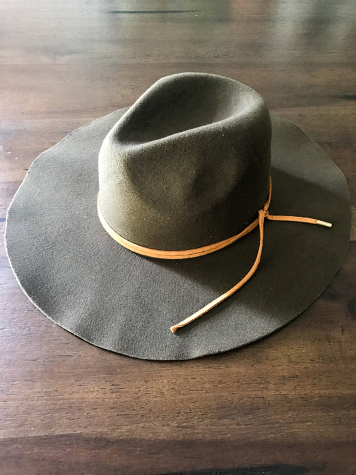Army Green Hat with Tan Tied Rope