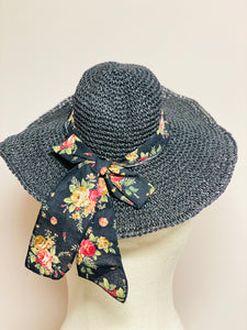 Black Hat with Flower Ribbon