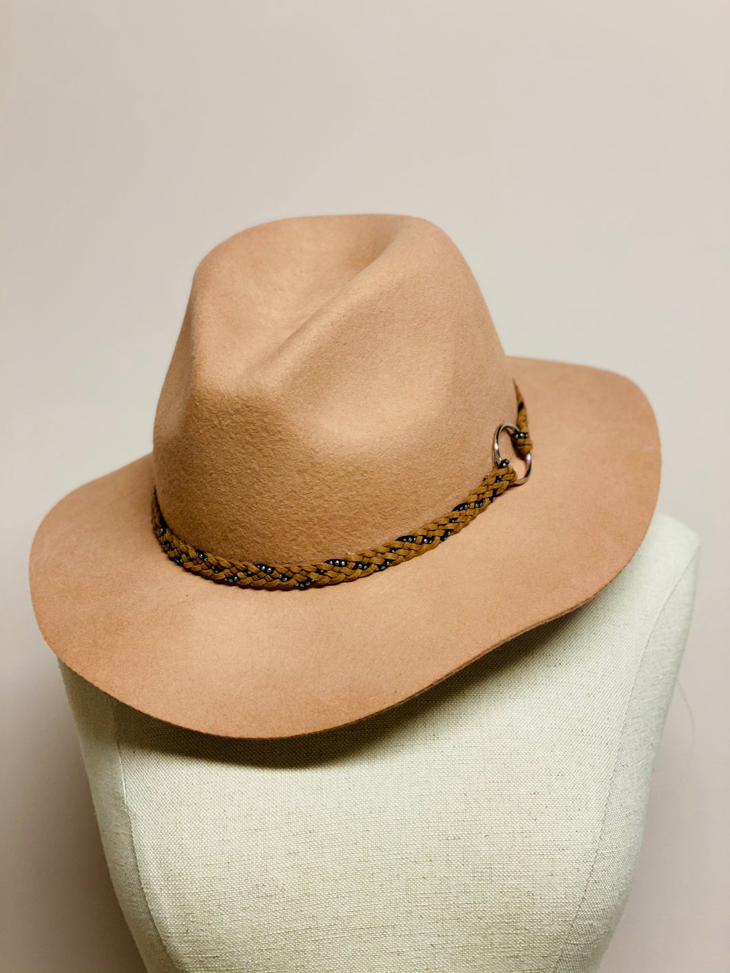 Tan Hat With Braided Strap