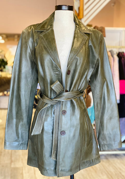 Army Green Leather Long Jacket