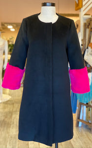 Black Jacket with Pink Fur Sleeves