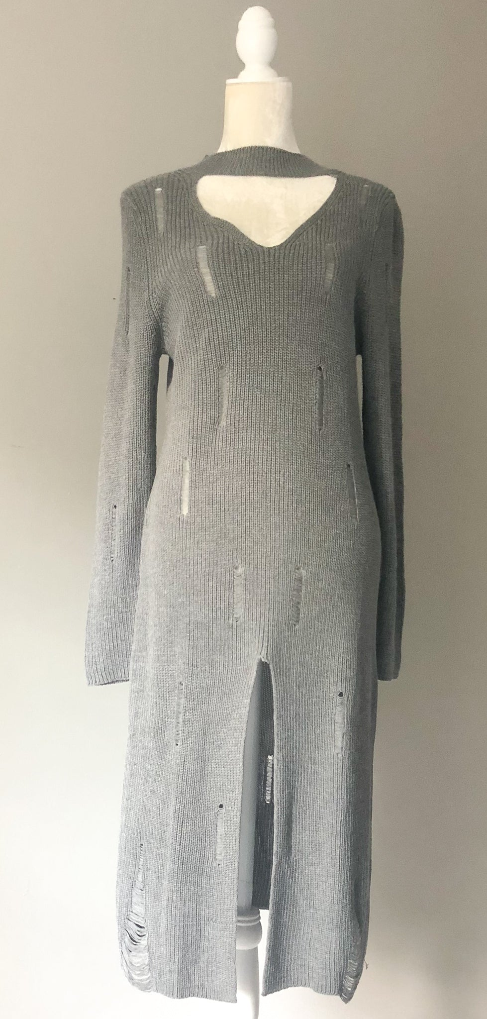 Grey Long Sweater Dress
